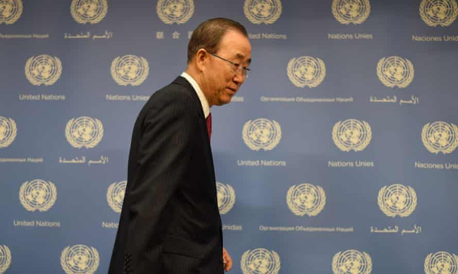 United Nations Secretary-General Ban Ki-moon standing
