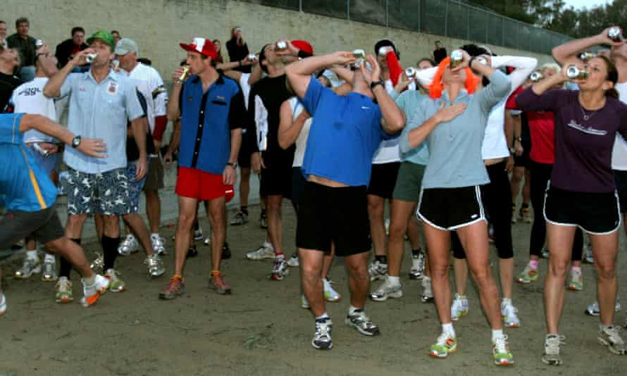 A beer mile event in California.