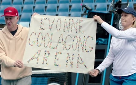 John McEnroe and Martina Navratilova protest against Margaret Court, urging an arena at Melbourne Park to be renamed after Evonne Goolagong Cawley.