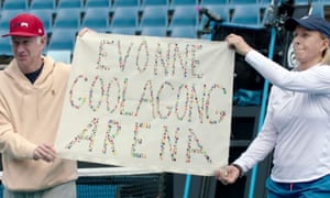 John McEnroe and Martina Navratilova protest against Margaret Court at the Australian Open this week.