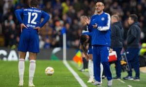 Maurizio Sarri encourages his matchwinner Ruben Loftus-Cheek during the 3-1 Europa League win over the Belarusian club BATE.