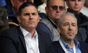 The Swansea owners Jason Levien, left, and Steve Kaplan watch the home game against Newcastle United this season.