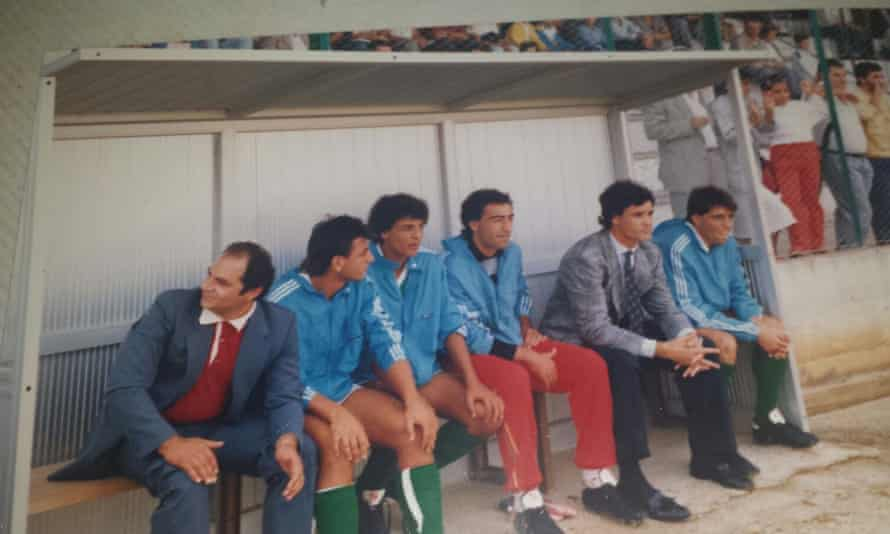 Claudio Ranieri, second from right, on the bench as Vigor Lamezia manager during the 1986-87 season.