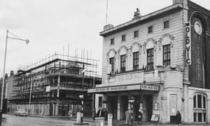 The Old Vic and annexe (left) under construction, January 1958.