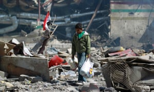 Boy in Sana'a bomb site