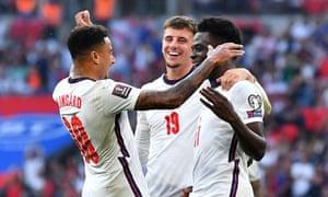 England's Bukayo Saka celebrates scoring their fourth goal.