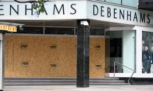 Boarded-up Debenhams