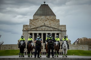 Police in Melbourne on Saturday.