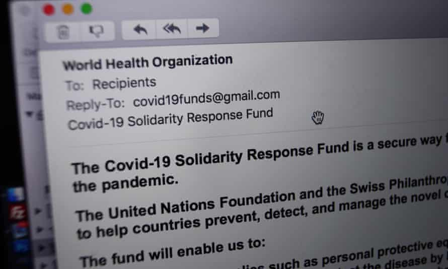 A phishing email from someone posing as the head of the World Health Organization asking recipients to donate money to a coronavirus fund.