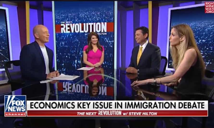 Steve Hilton, left, with Ann Coulter, right, on Fox News.