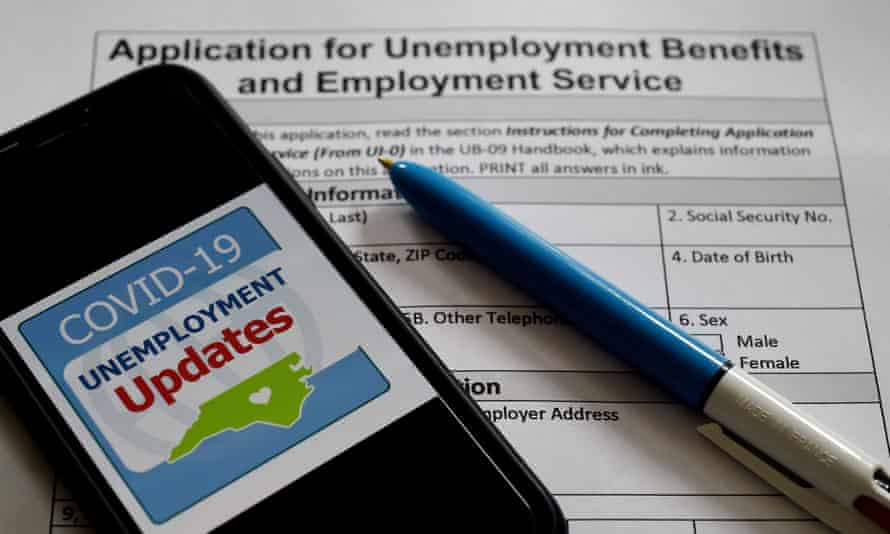 An unemployment form in Virginia. The pandemic has cost 39 million people their jobs.