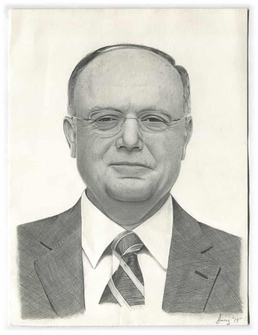 Ian Read, CEO of Pfizer, drawn by prisoner Joseph Sharrow.