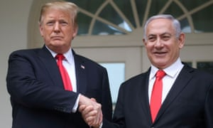 Donald Trump with Benjamin Netanyahu at the White House in March. Israel's prime minister brags about his close ties to the US president.