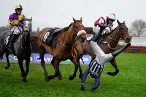 Ascot, EnglandJockey Fergus Gregory is unseated from Deauville Dancer during The Coral Handicap Chase at Ascot Racecourse. Owners are allowed to attend if they have a runner at the meeting otherwise racing remains behind closed doors to the public due to the Coronavirus pandemic