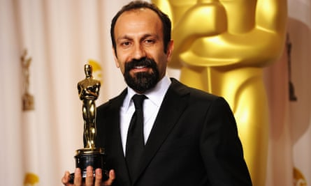 Asghar Farhadi with his Oscar for A Separation, which won best foreign language film in 2012.