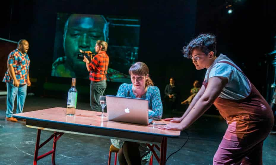 Njabulo Madlala (Aeneas), left, Rachael Lloyd (Dido), centre, and Eyra Norman, right, as Belinda in Dido at the Unicorn theatre.
