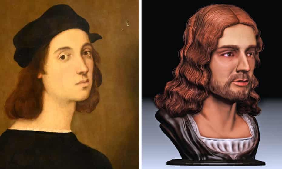 Composite image of a self-portrait by Raphael and a 3D facial reconstruction of Raphael made by Tor Vergata University in Rome.