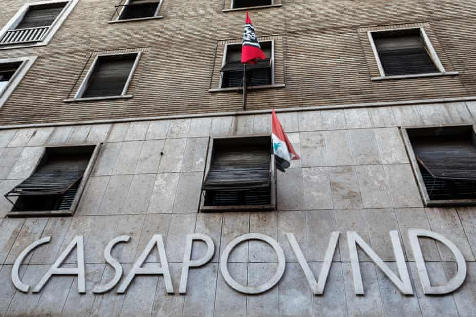 CasaPound's headquarters in a former government office building in Rome.