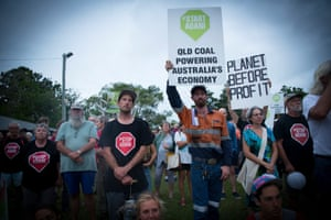 Start Adani protesters make their views heard at a Stop Adani rally in Emu Park near Rockhampton.