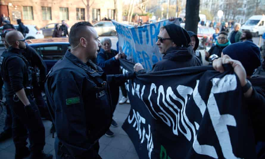 Demonstrators confront police during a protest outside the proposed new Google HQ.