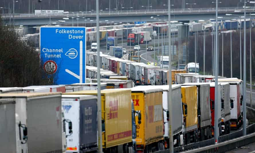 Lorries parked on the M20 during an Operation Stack in 2008