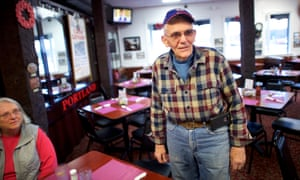 Larry Hallett in his Trolley Shops restaurant with his wife, Joan, in East Bangor. On Trump's appeal, Hallett said: 'I think it was his ordinary man's conversation. It wasn't rehearsed. He said it like he felt it was. They all identified with the guy.'