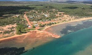 An aerial view over an Indigenous township on Groote Eylandt in the Northern Territory