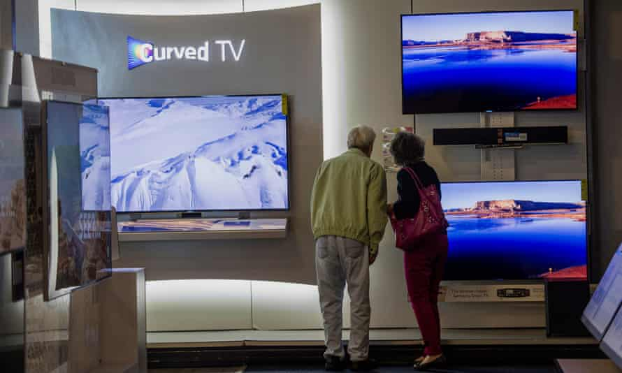 Shoppers browse Samsung televisions in San Carlos, California