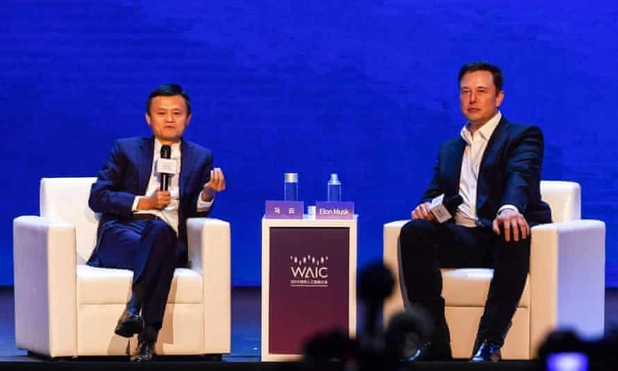 elon musk in conversation with jack ma, co-chair of the UN high-level panel on digital cooperation, shanghai, 2019