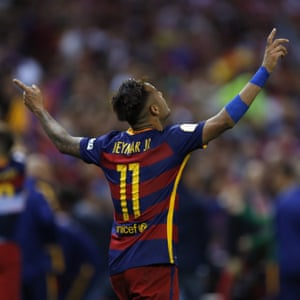 Barcelona's Neymar celebrates after winning the final of the Copa del Rey soccer match between FC Barcelona and Sevilla FC at the Vicente Calderon stadium in Madrid, Sunday, May 22, 2016. Barcelona won 2-0 (AP Photo/Francisco Seco)