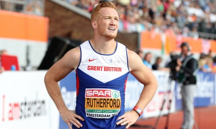 Greg Rutherford competing in the long jump final at the 2016 European Championships.