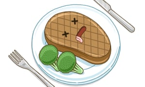 Illustration of a plate with a burger – with a face on it, tongue sticking out as if exhausted – and broccoli on it, and a knife and fork
