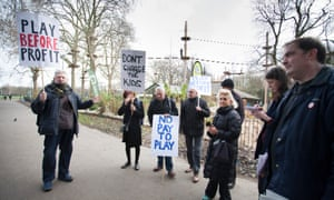 Demonstrators protest against the privately-run adventure playground Go Ape in Battersea Park, Wandsworth.