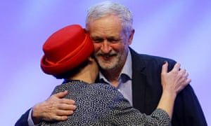 Jeremy Corbyn is congratulated by Christine Blower, General Secretary of the NUT, following his speech at the National Union of Teachers Conference at the Brighton Centre, Brighton, East Sussex.
