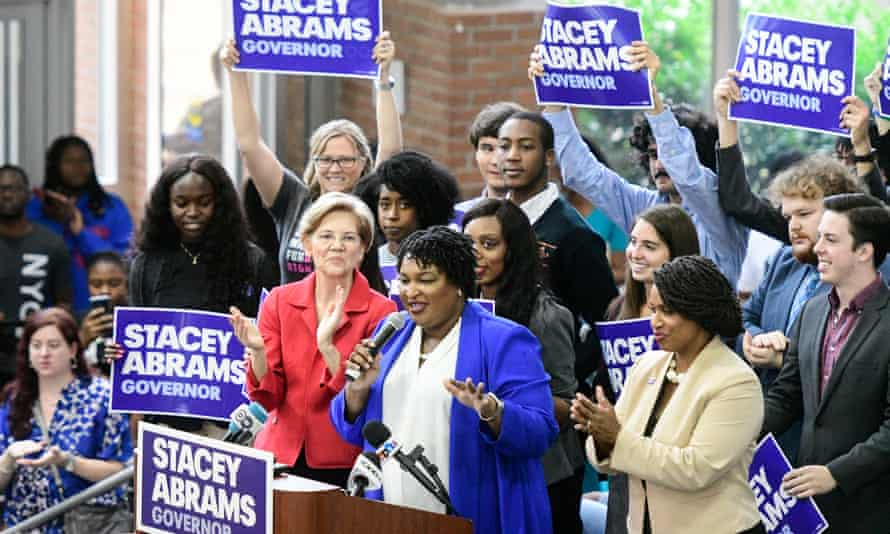 Stacey Abrams, Democratic challenger for Georgia governor in November 2018's midterm elections at a rally supported by Democratic Senator from Massachusetts Elizabeth Warren