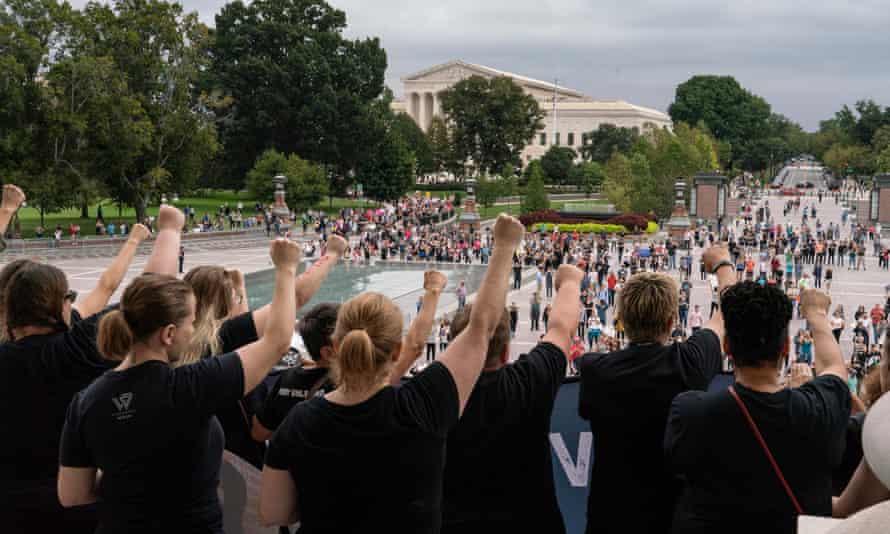 Protesters against Brett Kavanaugh in Washington DC on Saturday.