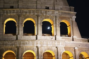 The view through the Colosseum in Rome, Italy
