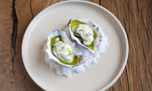 Two oysters in their shells in sauce on a round white plate