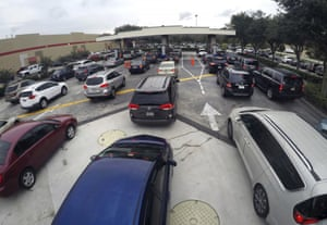 Drivers wait in line for gasoline in Altamonte Springs, Florida.