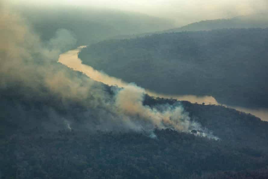 An aerial picture of forest fires in 2015 in Arariboia, Maranhão state.