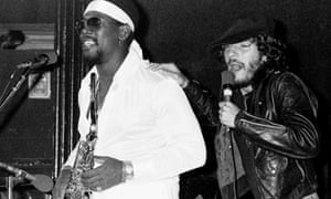 Bruce Springsteen and Clarence Clemons on stage during the Born to Run tour in 1975.