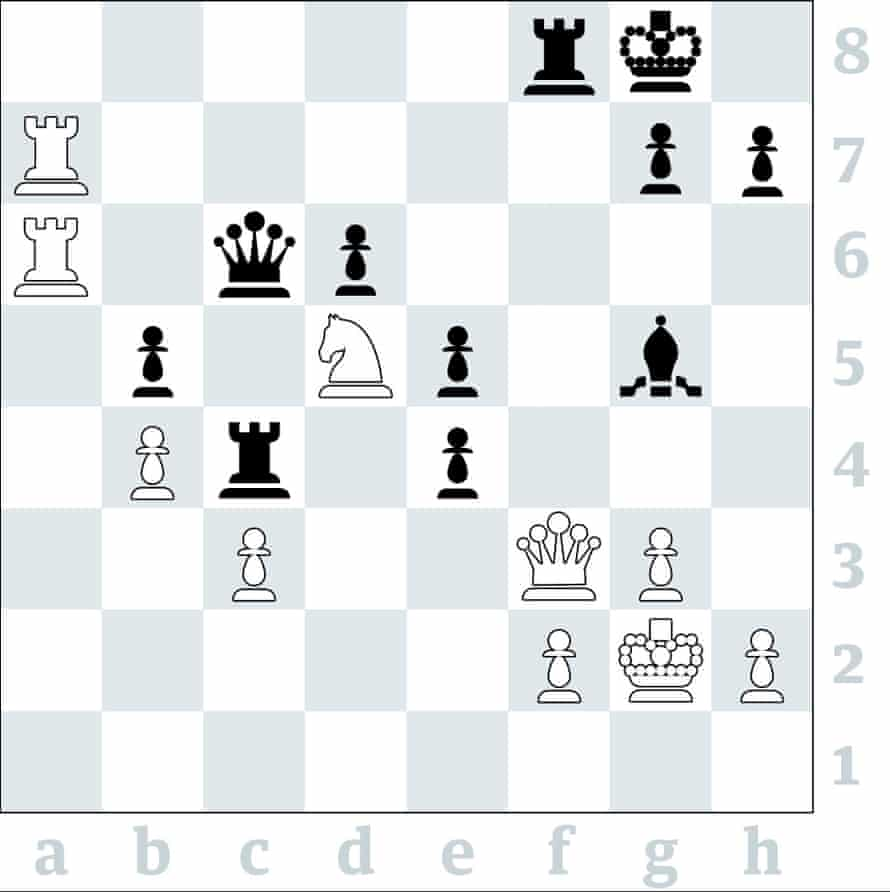 3628 Daniel Alsina Leal v Koby Kalavannan, Yorkshire v Surrey, counties final 2019: Yorkshire retained their title 11-5 with the help of today's top board puzzle, where White's queen and knight are both en prise. How did White (to play) demonstrate a win?