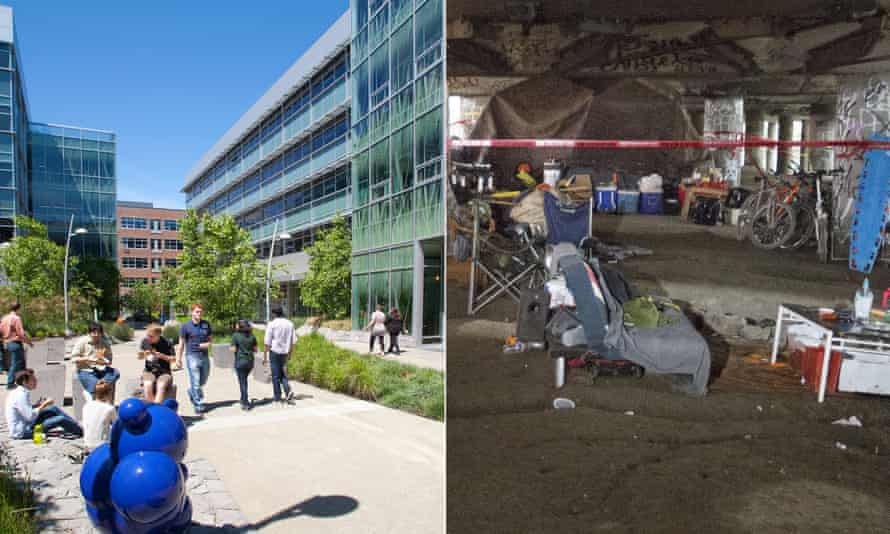 Employees enjoy a lunch break on the new Amazon campus in Seattle; right, an area used by homeless people has been blocked off by police after two people were shot dead.