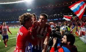 Jose Gimenez of Atletico Madrid celebrates his first goal with his teammates.