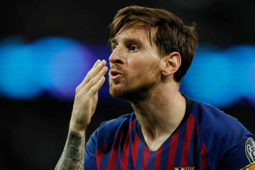 Lionel Messi celebrates scoring his second and Barca's forth goal by blowing a kiss to a TV camera during their Champions League win over Tottenham Hotspur in October 2018
