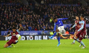 Kelechi Iheanacho of Leicester City scores his team's equaliser.