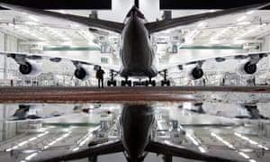 New Airbus A380 airliner for Lufthansa leaves paintshop hangar  in Finkenwerder near Hamburg.