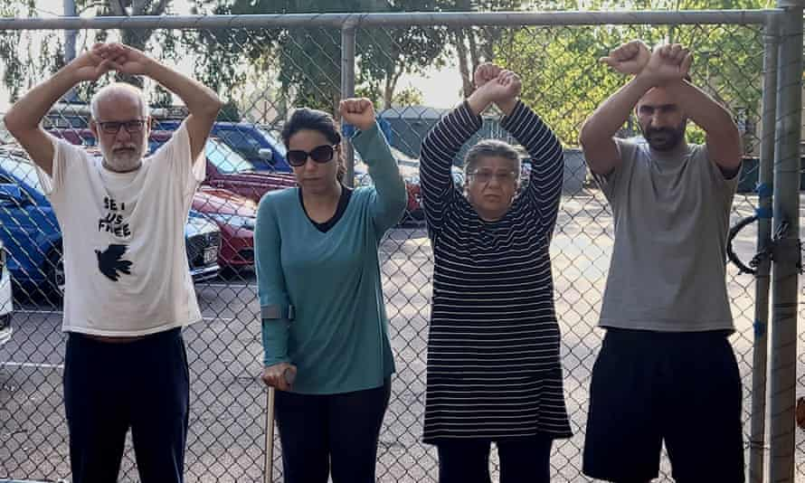 The Maghames family in the Darwin detention centre, August 2021: (L-R) Yaghob, Hajar, Malakeh and Abbas.