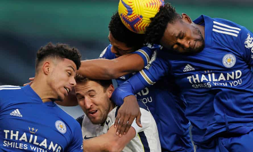 Tottenham's Harry Kane is crowded out by Leicester's James Justin (left), Wesley Fofana and Wilfred Ndidi during Leicester's 2-0 win last Sunday.