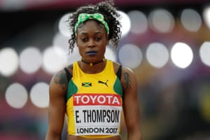 Jamaica's Elaine Thompson, the double Olympic champion, waits for the start of a women's 100m heat.